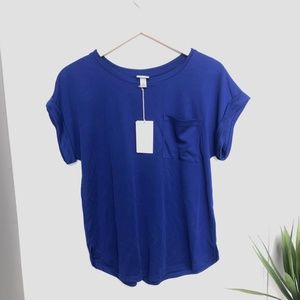 NWT A New Day Cuffed Sleeves Scoop Neck Shirt M